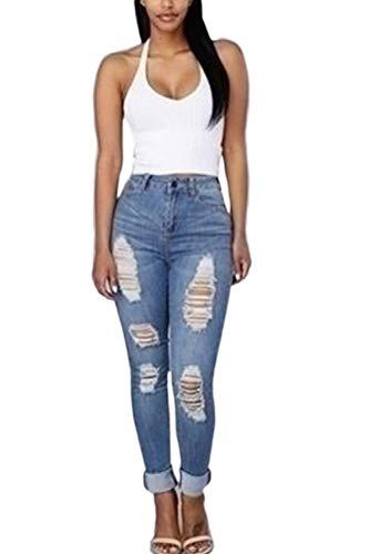 yulinge Destoryed Denim Jeans Dchirs, Les Pantalons Poche Blue