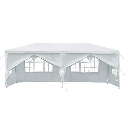 Yaheetech 20 X10 Heavy Duty PE Water Resistant Party Wedding Tent Carport BBQ Canopy Gazebo with Removable sidewalls Zipper Door