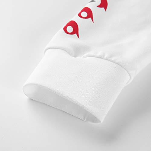 Blouse manches T la mode sweatshirt femme capuche Tops élégantes Sweatshirts femmes Vicgrey à imprimé Tumblr manches longues Sweat chemise pull lettre de longues shirt à à Blanc 7SqUWax
