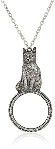 1928 Jewelry Women's Pewter Cat Magnifying Glass Pendant Necklace 30 inch, Silver, One Size