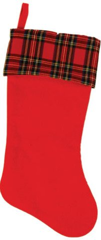 DDI 2127623 Plaid Pattern Felt Christmas Stocking - Case of 36