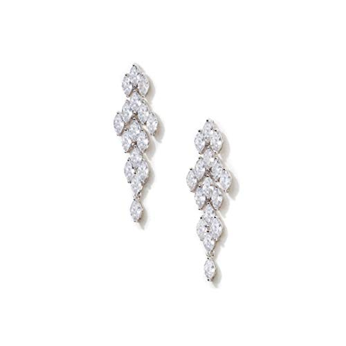 (Formal Affair Marquise Shape CZ Simulated Diamond Cluster Chandelier Earrings - Perfect for Wedding, Prom, Mother's Day (1.8