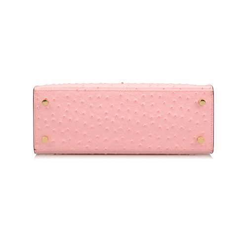 Shoulder Handbag Ostrich Embossed Ainifeel Women's Leather Bag Purse Pink Genuine Padlock Hobo w7q0nSTq
