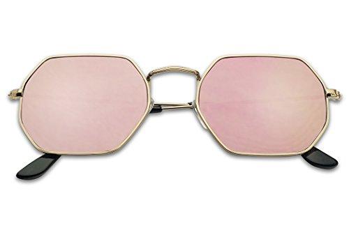 Modern Slim Metal Geometric Flat Mirrored Lens Unisex Octagon Style Sunglasses (Gold, Pink - Sunglasses Octagon
