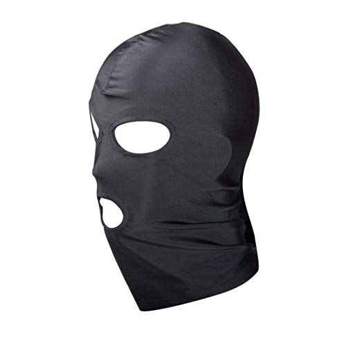 Soft Breathable Hoods Full Face Cover Head Mask Cosplay Costume Swat Mask for Woman and Man (Black 1)]()