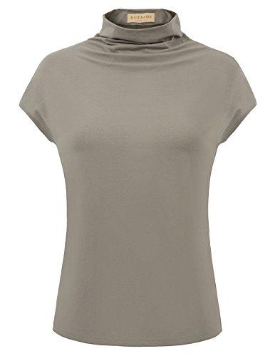 (Kate Kasin Women's Sleeveless Mock Turtleneck Cotton Top (S,Grey Green))