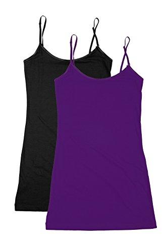 XT1002L Plus Size Adjustable Spaghetti Strap Trim Long Tank Top 2Pack - Black/Purple XL