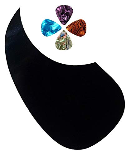 Left Hand Acoustic Guitar Pick-guard Antiscratch. Black Tear Drop Comma Shape (From Magik Wagon)