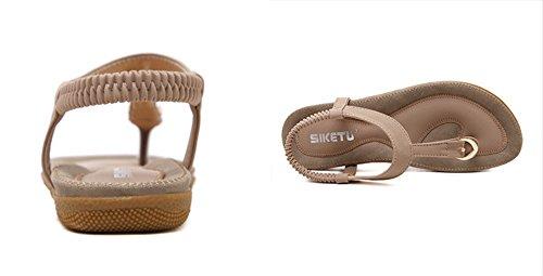 Rond Plage Chaussures Abricot Flop Plat Flip Bout Femmes Casual pour Sandales Rome Sandales Boho Sandales Pantoufles Chaussures Huateng fg0Oqxwv