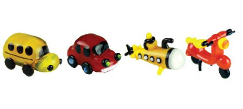 Collectible Miniatures Game - Looking Glass Miniature Collectible - School Bus/Automobile/Submarine/Scooter (4-Pack)