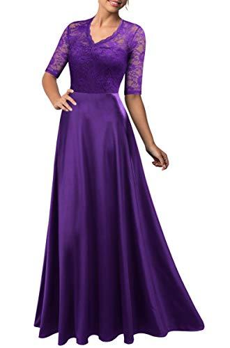 (Mmondschein Women's Vintage Floral Wedding Bridesmaid Evening Long Dress Purple XL)