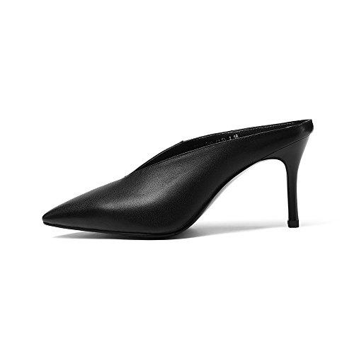 Women's Toe Nine High Alto Mano Scarpin Mule In Genuine Slide Stiletto A Scarpin Pelle Vera Sette A Pointed Heel Spillo Femminile Toe Punte Handmade Tacco Leather Scorrevole A Mulo Nero Black Seven Nove YqXXrwt