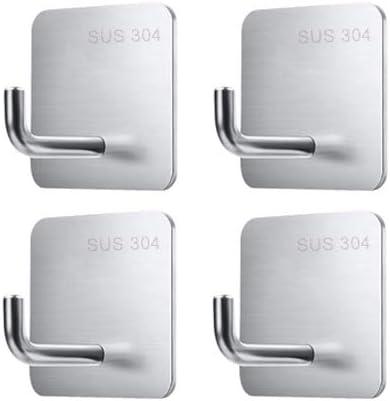 Super Strong Self Adhesive Hooks Heavy Duty Wall Mount Hooks Door Hooks Waterproof Stainless Steel Bathroom and Bedroom Hooks for Hanging Bags Key Coat Hat Towel Robe Hook Rack Hanger - 4 Packs