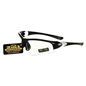 SSP Eyewear 1.25 Bifocal/Reader Safety Glasses with Black Frames & Clear Anti-Fog Lenses, ENTIAT 125 BLK CL A/F