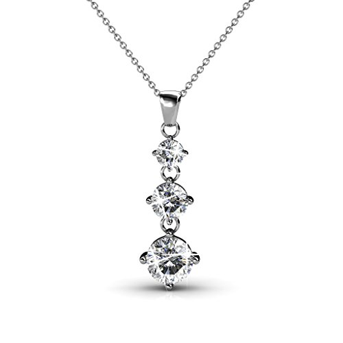 Cate & Chloe Delilah 18k White Gold Chain Pendant Necklace with Swarovski Crystals, Round Cut Diamond Crystals Silver Necklace for Women, Triple Stone Drop Necklace - MSRP $135