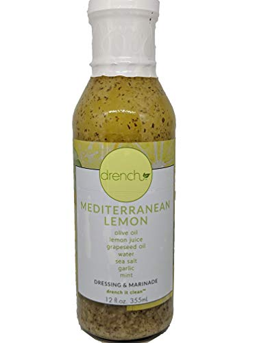 Drench Dressing - Clean Natural Salad Dressing and Marinade Two Pack made with Pure Olive Oil (2) 12oz Mediterranean Lemon