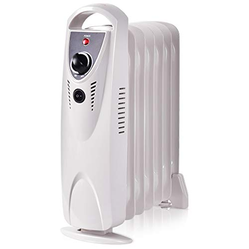 Tangkula Radiator Heater, Oil Heater, Electric Portable Compact Mini Heater for Home and Office, Tip-Over and Overheating Protection, Space Heater 700W
