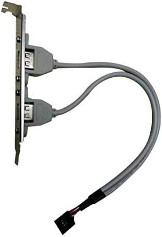 Tivollyff PCケース内部9ピン-USBメスバッフルビットラインデュアルUSB 2.0メスポートネジロックパネルマウントケーブルフレキシブルコード