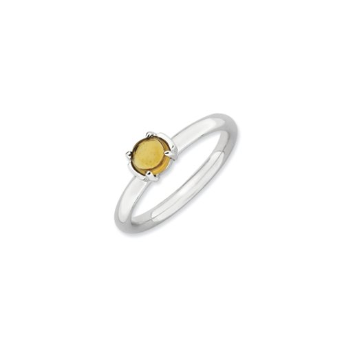 Silver Stackable .40 Carat Citrine Cabochon Ring, Size 10