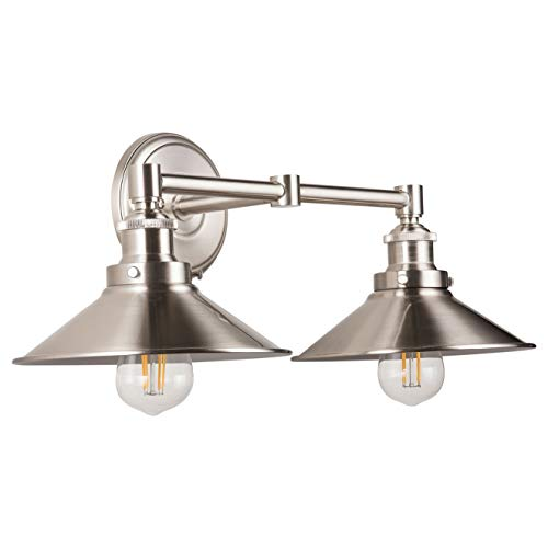 Andante LED Industrial 2 Light Wall Sconce - Brushed Nickel - Linea - Best A Bathroom Bulb Over Light Mirrors