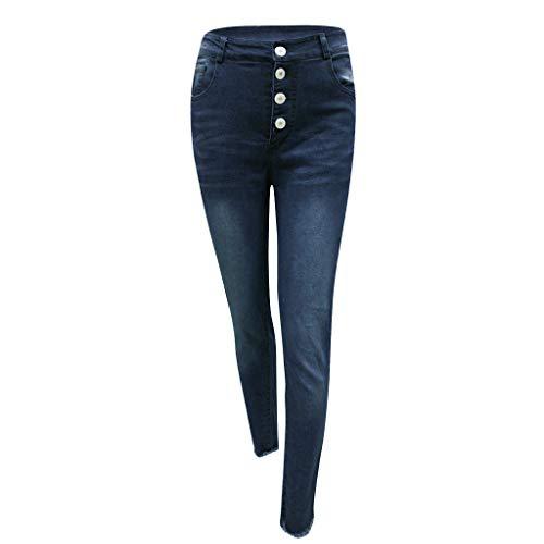 (LiLiMeng 2019 Women Mid Waist Retro Elastic Button Tassel Loose Slim Fit Stretch Skinny Denim Casual Small Feet Jeans)