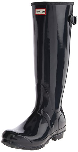 Hunter Womens Original Zurück Einstellbare Glanz Regen Boot Marine