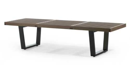 Cheap AEON Slat Bench B, 72″ Long Platform Bench with 1.5″  Thick Solid American Walnut  Top, Black Painted Birch Legs