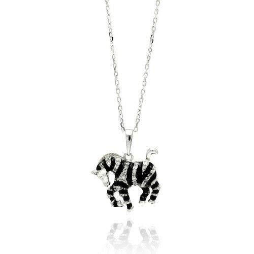 Womens 925 Sterling Silver RH Black Onyx Zebra CZ 16
