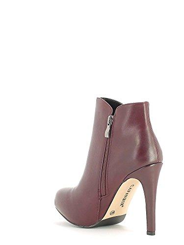 CAF NOIR MF902 schwarze Schuhe Frau Knöchel Stiefel seitlichem Reißverschluss Ferse 1736 BORDEAUX