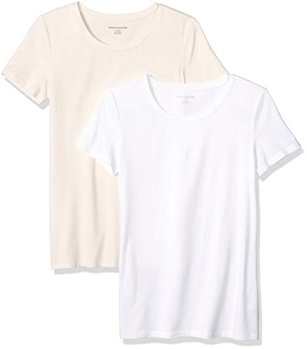 Amazon Essentials Women's 2-Pack Classic-Fit Short-Sleeve Crewneck T-Shirt, Peach/White, Medium
