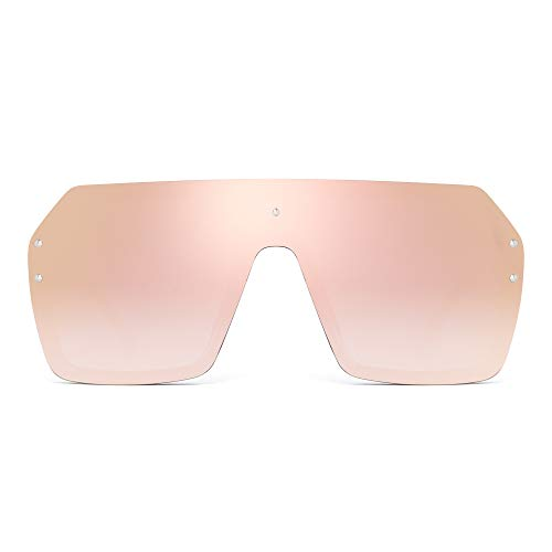 Oversized Shield Sunglasses Flat Top Gradient Lens Rimless Glasses for Women Men (Black Frame/Mirror Pink ()