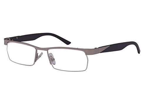 Edge I-Wear Classic Rectangular Half Rimmed Unisex Metal Two Tone Reading Glasses 25053-+1.50-2 (Silver)