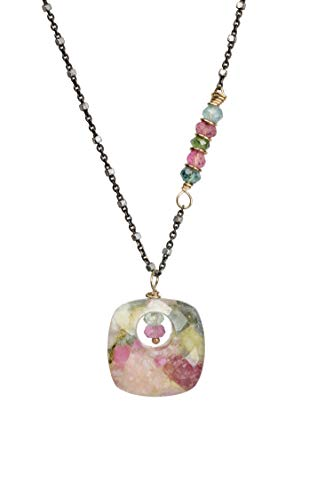 Tourmaline Gemstone Pendant Necklace- Multi Color Pink Green Blue- 19