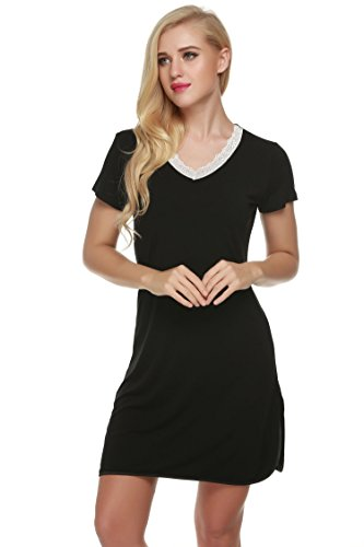 Ekouaer Sleep Shirt Womens Nightshirts Viscose V-Neck Short Sleeve Sleepwear (XS-XL)