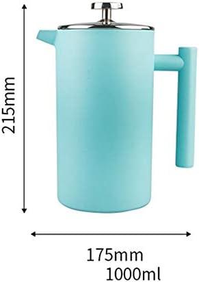 オフィスコーヒープレッサーティーポット ポータブルステンレススチールフレンチプレスポットフランスのフィルタープレスホームマニュアルコーヒーポットティーポットフィルターポット (色 : 青, サイズ : 1000ml)