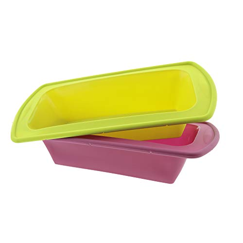 Elbee Baking Non Stick Durable Silicone Loaf Pans Set, Thick Steel Reinforced...