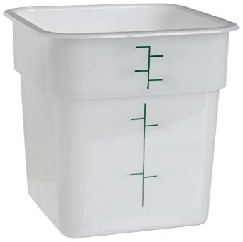 "Cambro 4SFSP 4 qt Capacity, 7-1/4"" Length x 7-1/4"" Width x 7-3/8"" Height, White Solid Plastic Food Storage Container (Cover Sold Separately)"