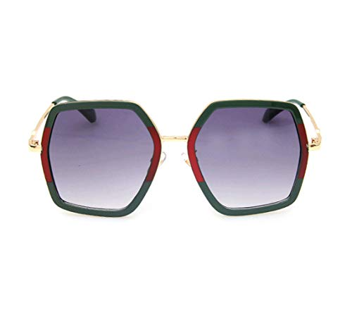 GAMT Oversized Square Sunglasses Women Vintage UV Protection?irregular Brand Designer Shades (red&green) ()