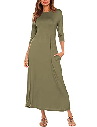 Halife Women's Smock Neck 3/4 Sleeve Fit And Flare Long Maxi Dress With Pockets (S, Army Green)