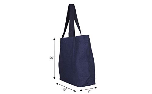 EcoRight Jute Canvas Tote Bag with zipper & pocket - Reusable 100% EcoFriendly Large Size