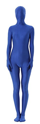 Invisible Blue Skin Suit Child Costumes (antaina Blue 2nd Skin One Piece Lycra Spandex Unitard Full Body Zentai Catsuit,XL)