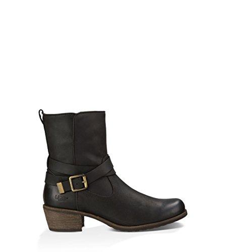 UGG Women's Lorraine Black/Water Resistant Leather Boot (Go Go Boots Australia)