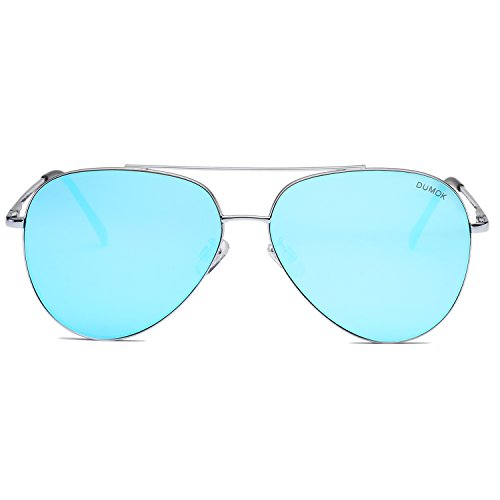 Dumok Aviator Sunglasses Unisex Flat Lens Mirrored Metal Classic Shades DSR003 With Silver Frame/Blue Lens ()