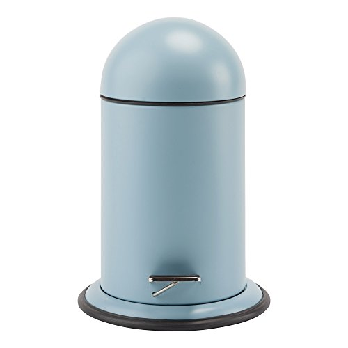 Ona Round Resin Pedal Wastebasket Trash Can for Bathroom, Kitchen, Office (Light Blue)