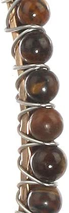 Mayas Grace Natural Stone Finish Bead Hammered Metal Bangle Bracelet Wire Wrapped Two Tone Hook Closure