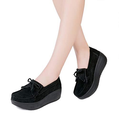 f96bb3c69dd47 StarttWin Women Platform Wedge Loafers Shoes Bowknot Tassel Round Toe Soft  Non Slip Comfort Slip on