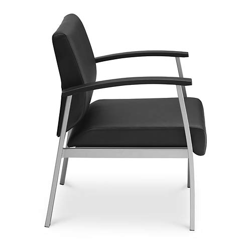Compass Guest Chair with Arms Black Polyurethane/Silver Legs