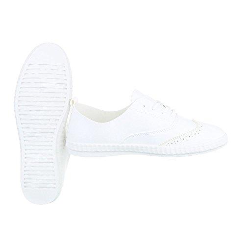 Ital-Design Sneakers Low Damenschuhe Schnürsenkel Freizeitschuhe Weiß