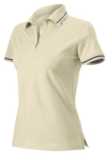 Harvard Square Women's Short Sleeve Pima Reserve Tipped Pique Polo Shirt HS360W beige XX-Large (Tipped Pima Pique Polo)