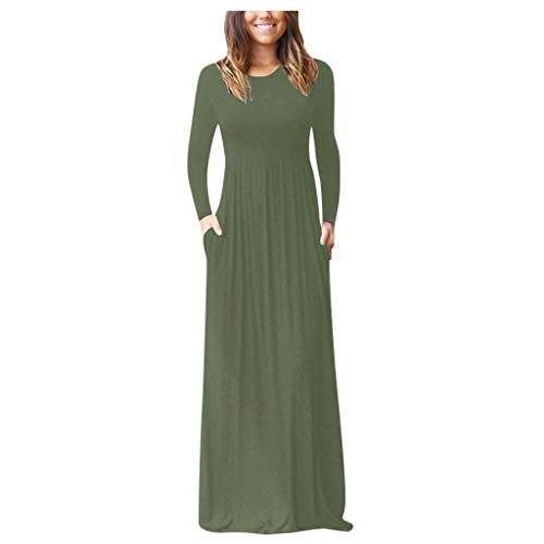 Women's Long Sleeve Loose Plain Maxi Dresses Casual Long Dresses with Pockets Round Neck Solid Tank Long Dress FEISI22 Green